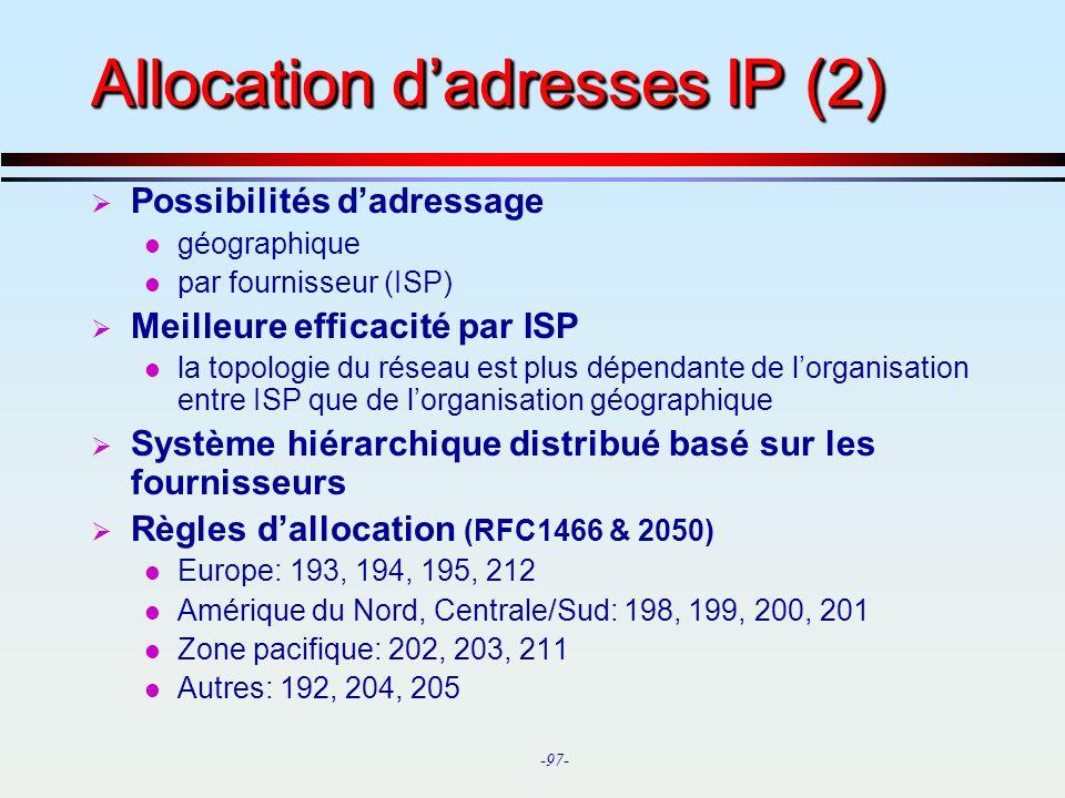 Allocation d'adresses IP (2)