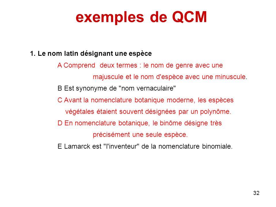 exemples de QCM 1. Le nom latin désignant une espèce