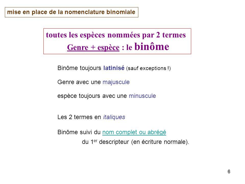 toutes les espèces nommées par 2 termes Genre + espèce : le binôme