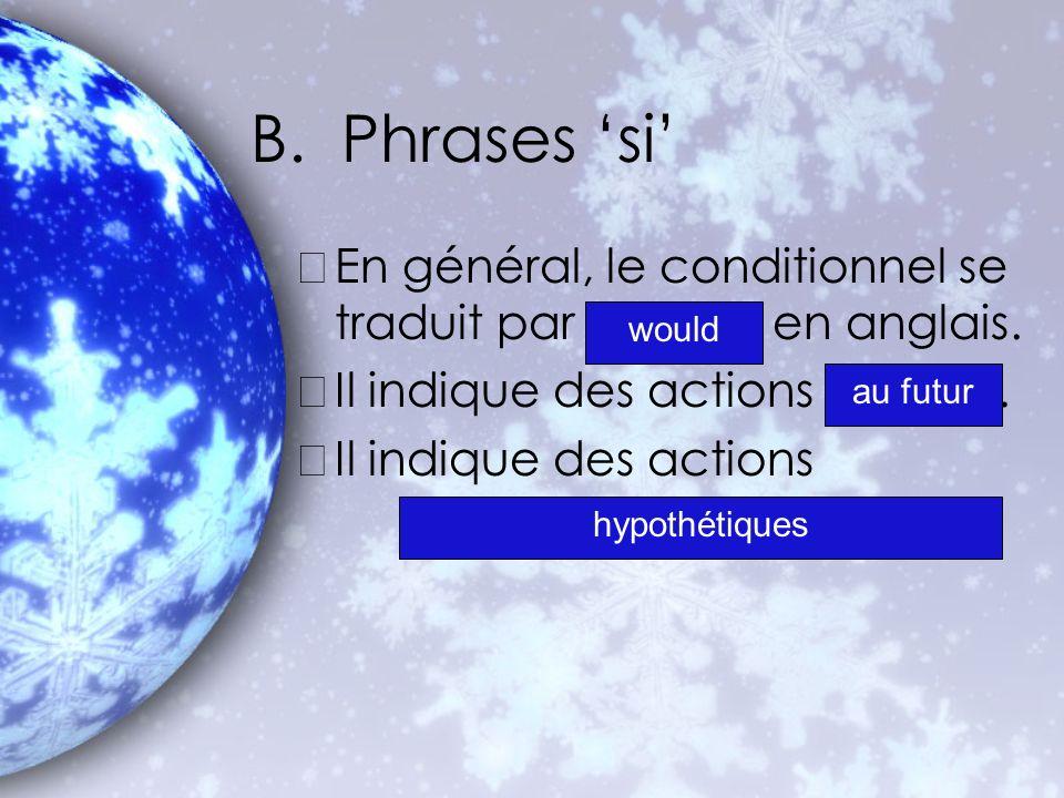 B. Phrases 'si' En général, le conditionnel se traduit par en anglais.