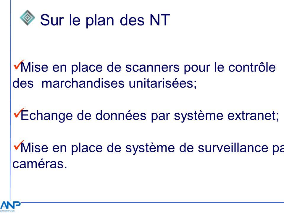 Sur le plan des NT Mise en place de scanners pour le contrôle des marchandises unitarisées; Echange de données par système extranet;