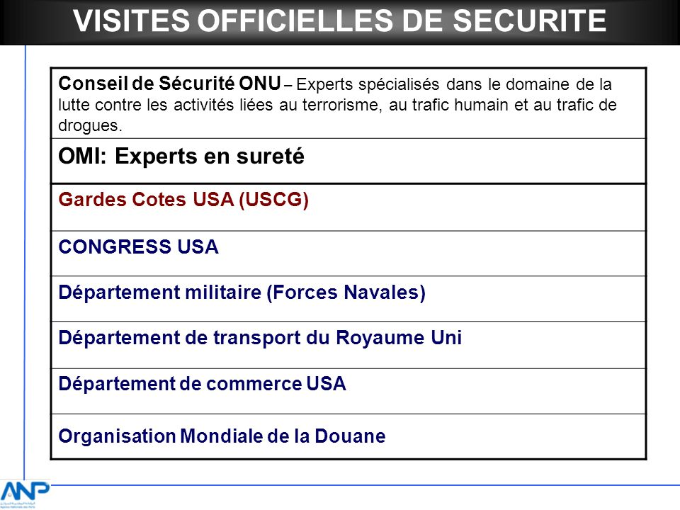 VISITES OFFICIELLES DE SECURITE