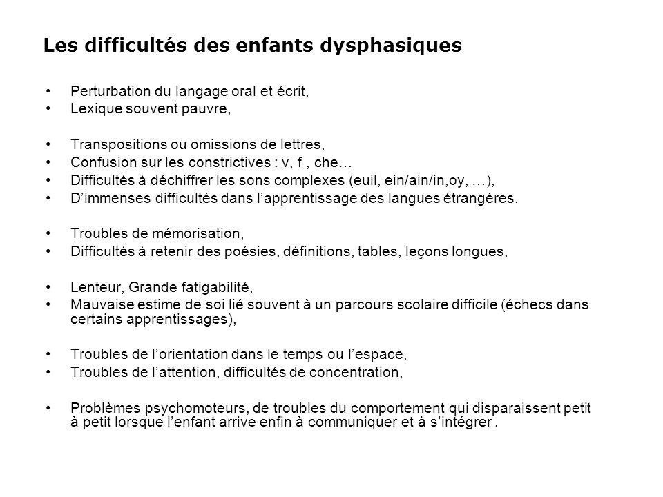 Les difficultés des enfants dysphasiques