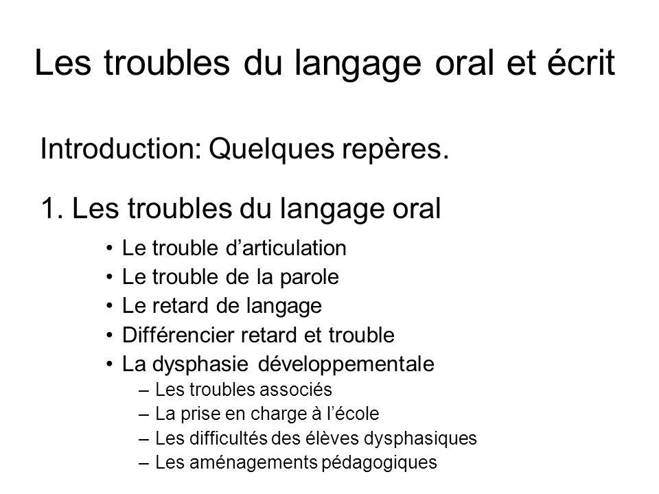 Les troubles du langage oral et écrit