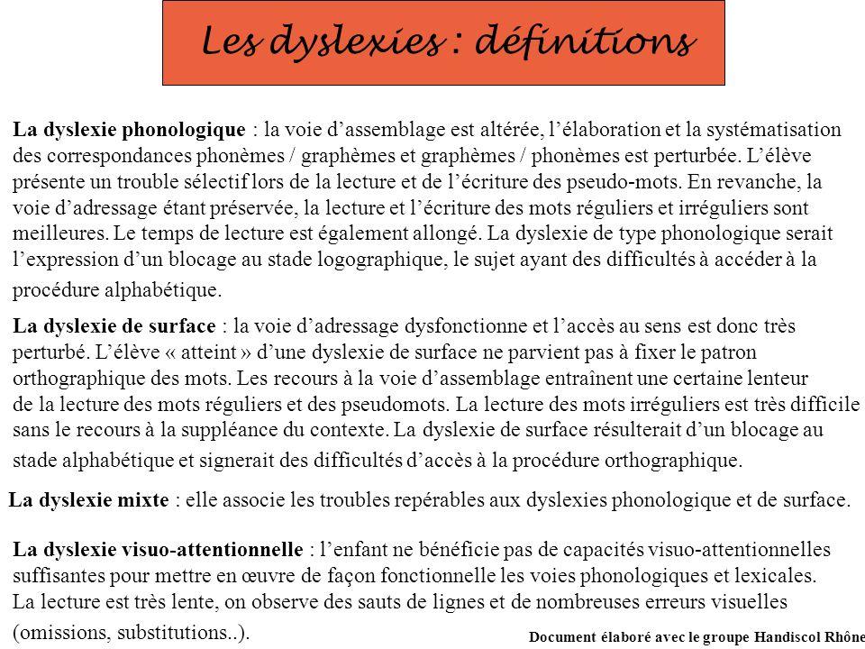 Les dyslexies : définitions