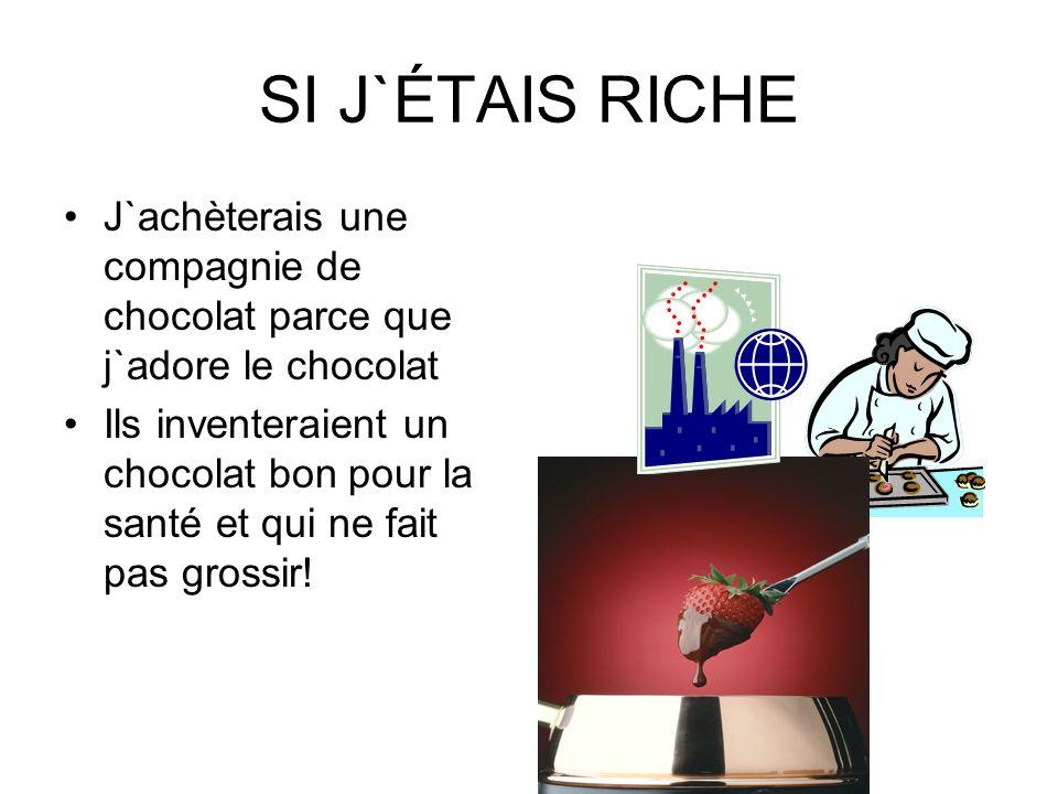 SI J`ÉTAIS RICHE J`achèterais une compagnie de chocolat parce que j`adore le chocolat.