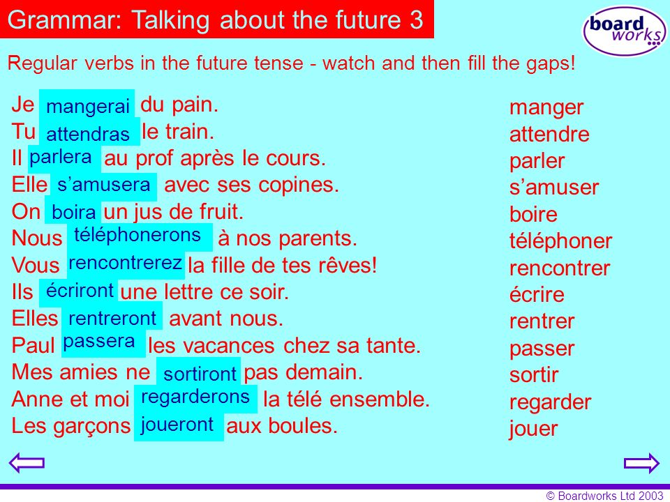 Grammar: Talking about the future 3