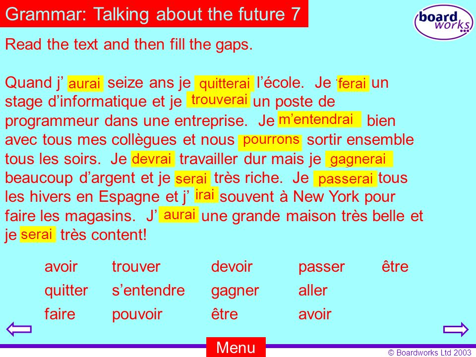 Grammar: Talking about the future 7