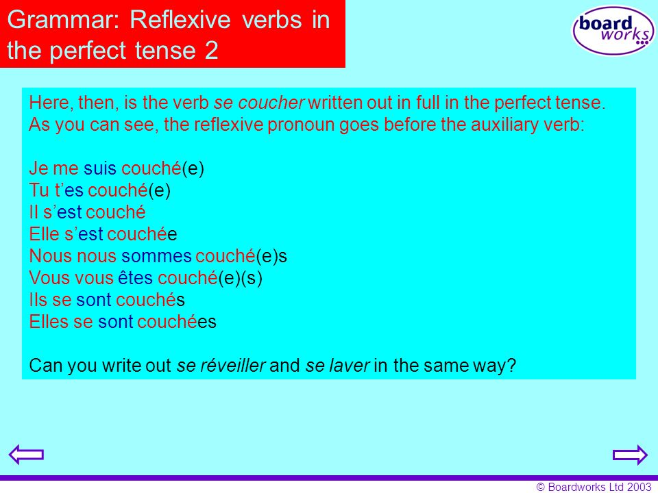 Grammar: Reflexive verbs in the perfect tense 2