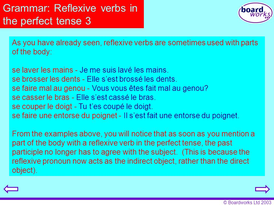 Grammar: Reflexive verbs in the perfect tense 3