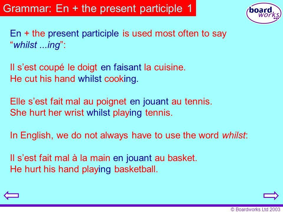 Grammar: En + the present participle 1