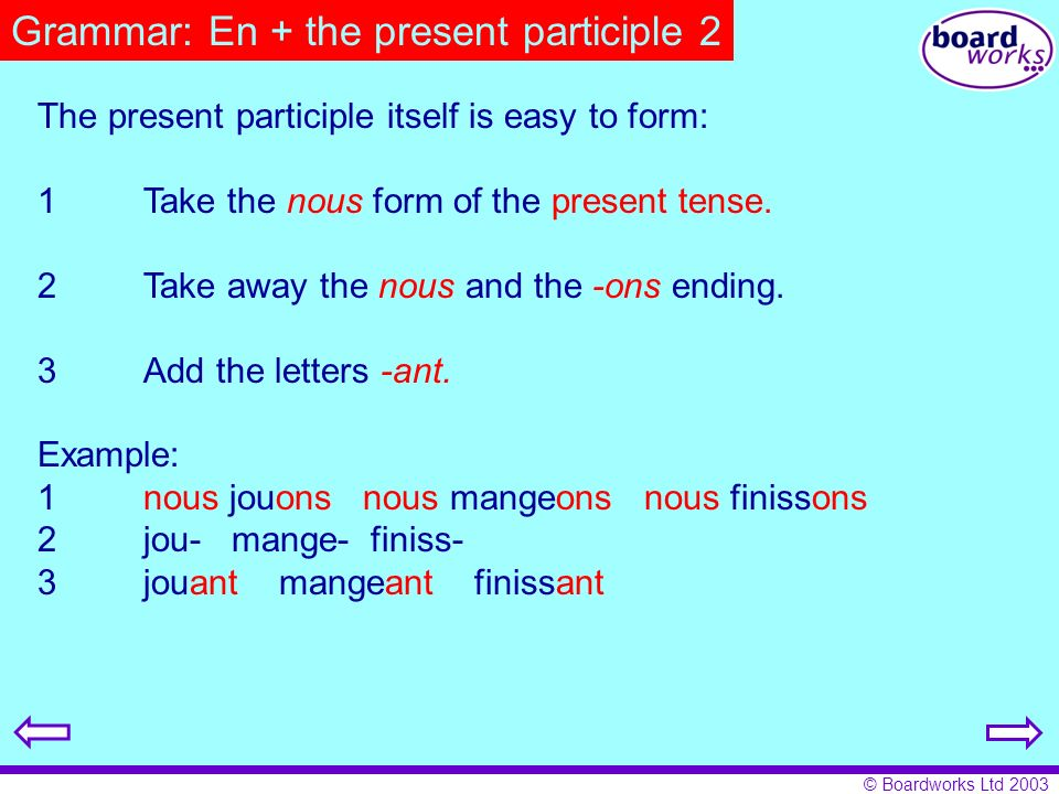 Grammar: En + the present participle 2