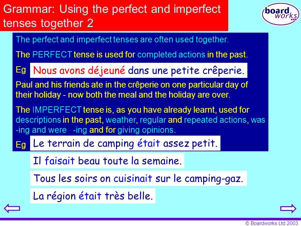 Grammar: Using the perfect and imperfect tenses together 2