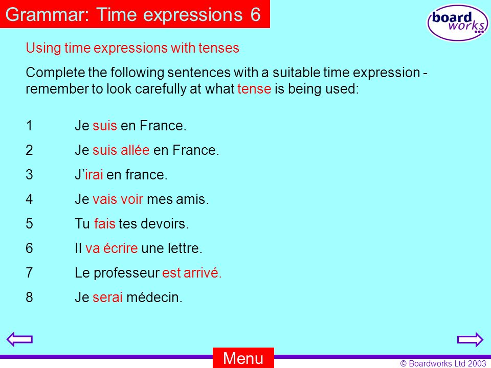 Grammar: Time expressions 6