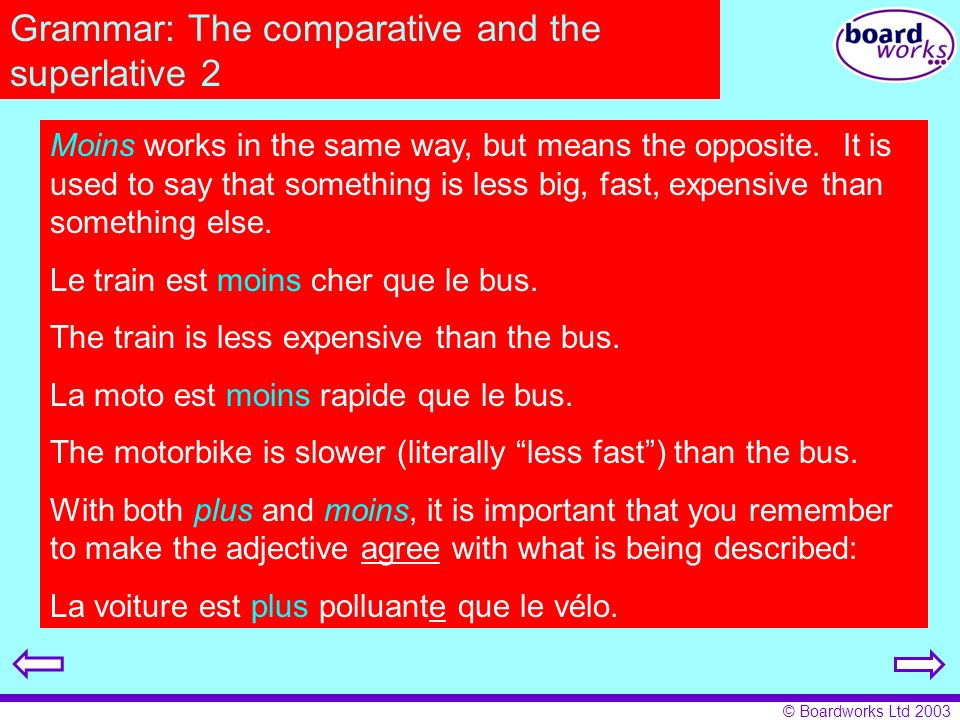 Grammar: The comparative and the superlative 2