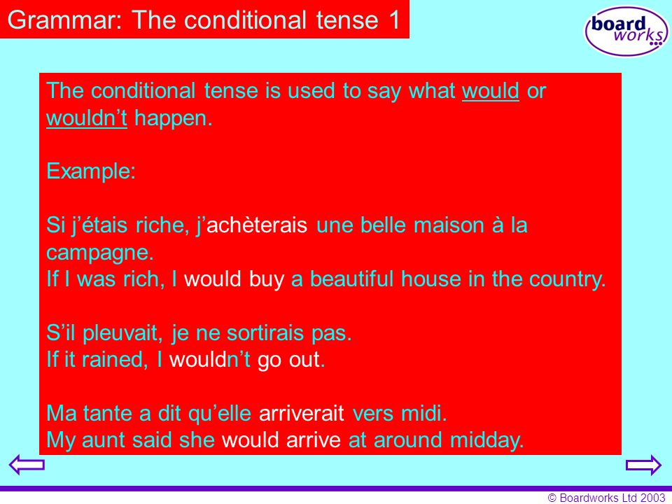 Grammar: The conditional tense 1