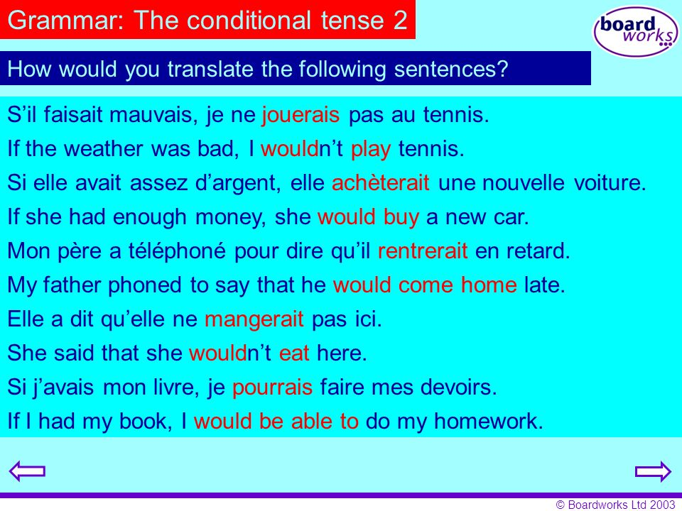 Grammar: The conditional tense 2