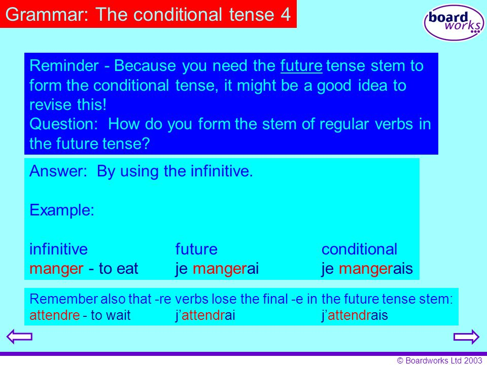 Grammar: The conditional tense 4