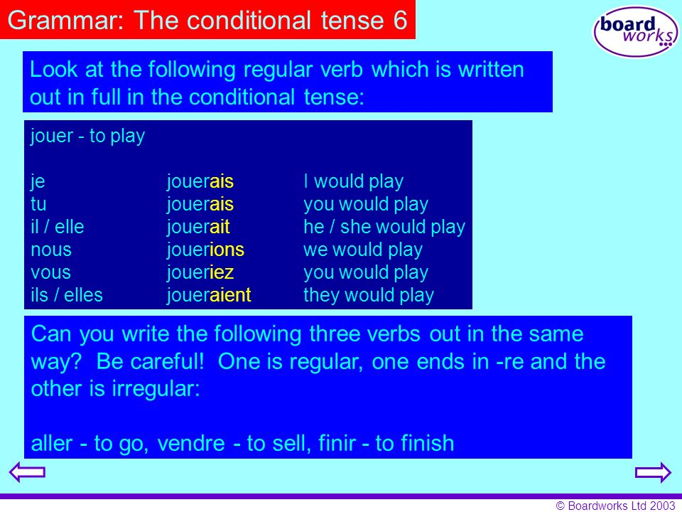 Grammar: The conditional tense 6