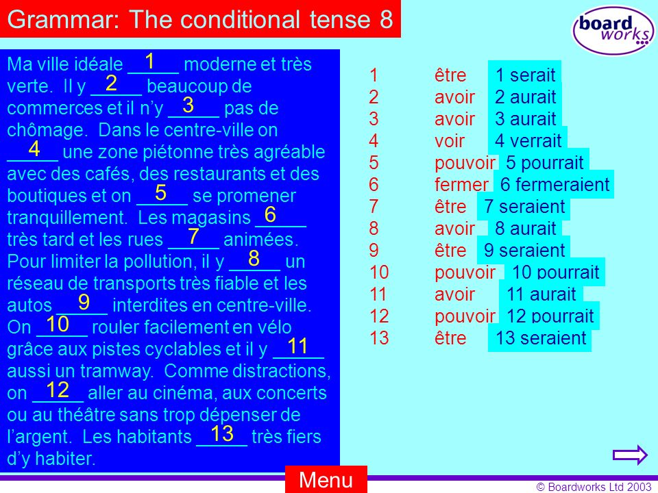 Grammar: The conditional tense 8