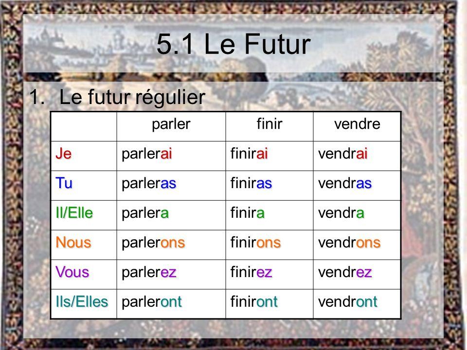 5.1 Le Futur Le futur régulier parler finir vendre Je parlerai finirai