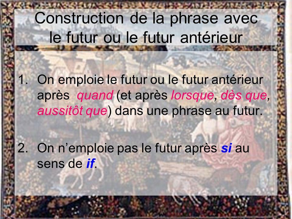 Construction de la phrase avec le futur ou le futur antérieur