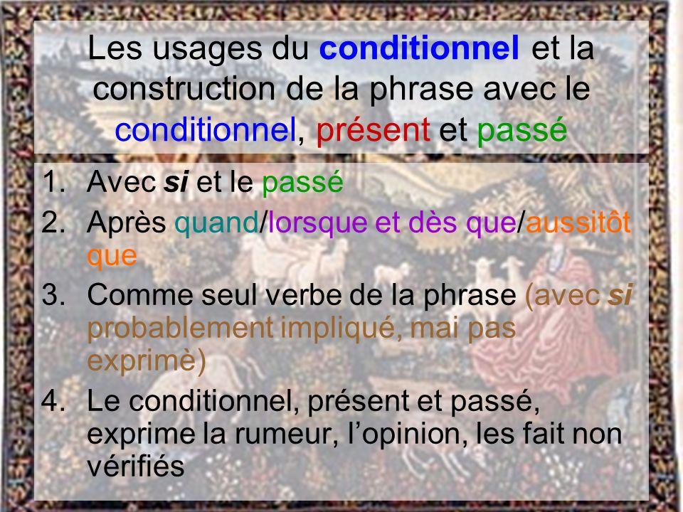 Les usages du conditionnel et la construction de la phrase avec le conditionnel, présent et passé