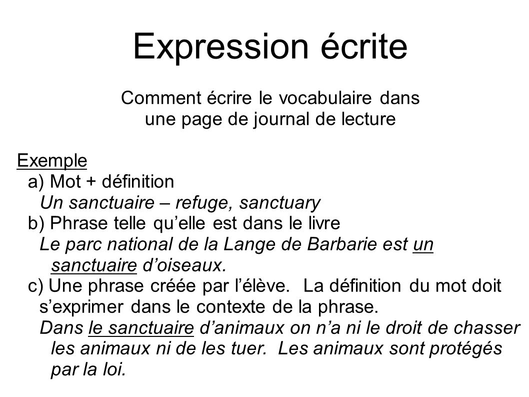 Expression écrite Comment écrire le vocabulaire dans