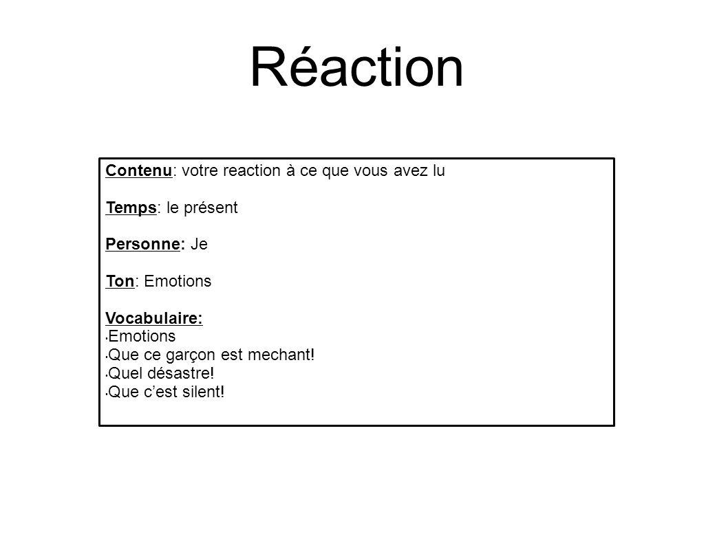 Réaction Contenu: votre reaction à ce que vous avez lu