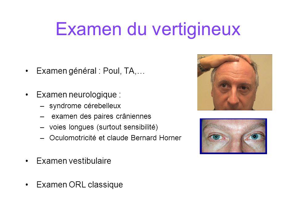 Examen du vertigineux Examen général : Poul, TA,…