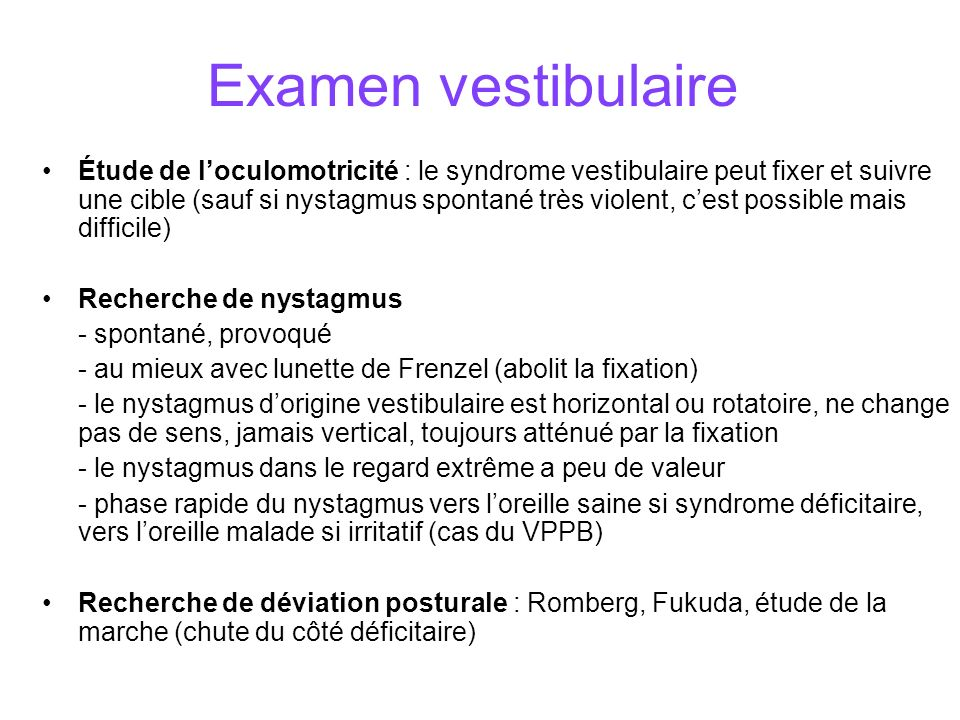 Examen vestibulaire