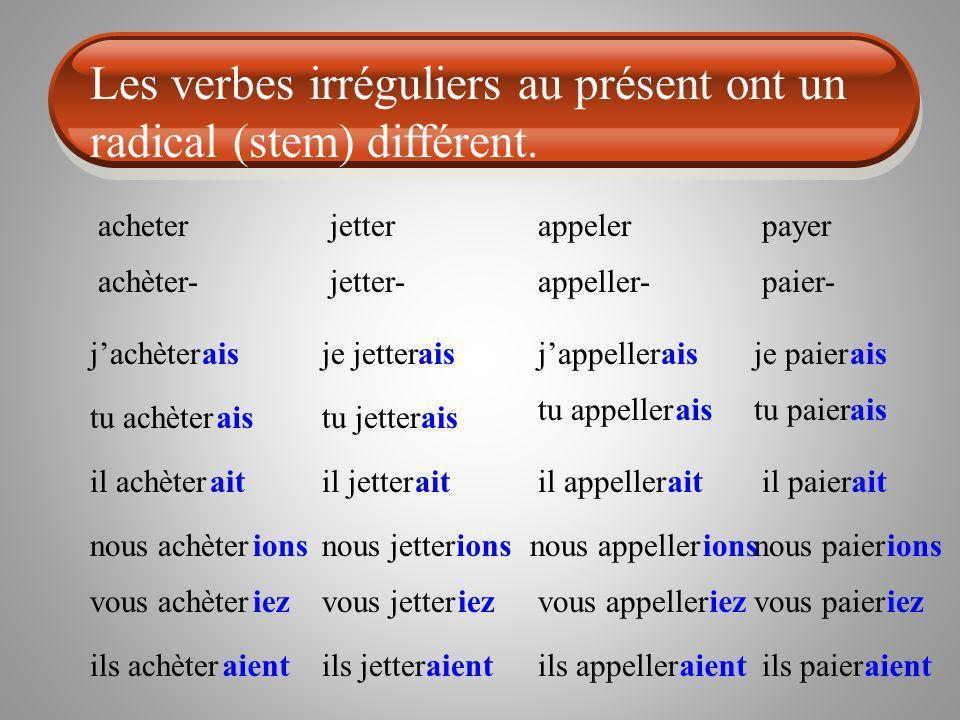 Les verbes irréguliers au présent ont un radical (stem) différent.