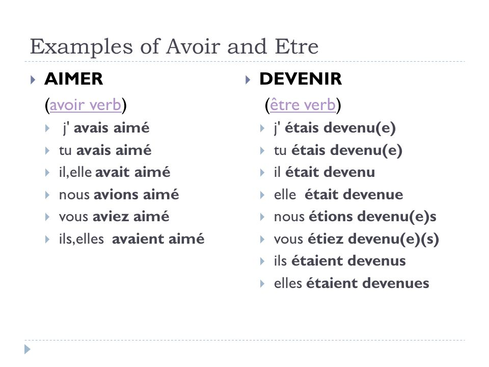 Examples of Avoir and Etre