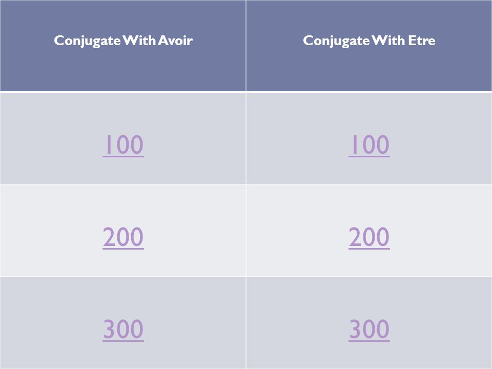 Conjugate With Avoir Conjugate With Etre 100 200 300
