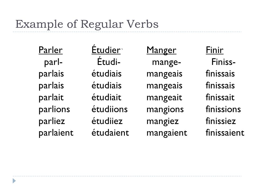 Example of Regular Verbs