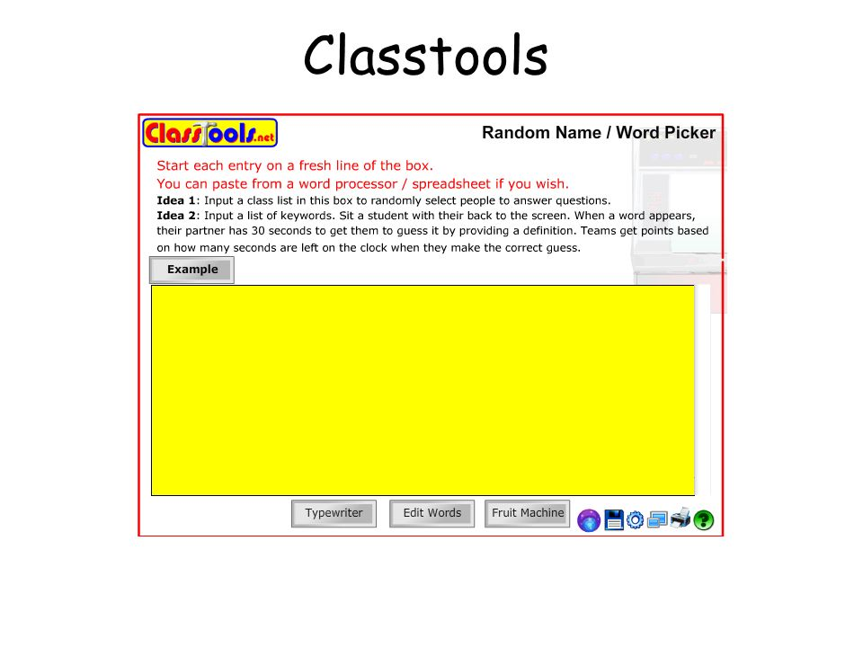 Classtools http://www.classtools.net/education-games-php/fruit_machine