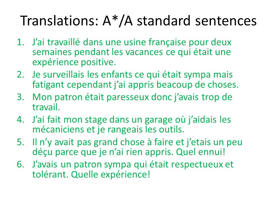 Translations: A*/A standard sentences