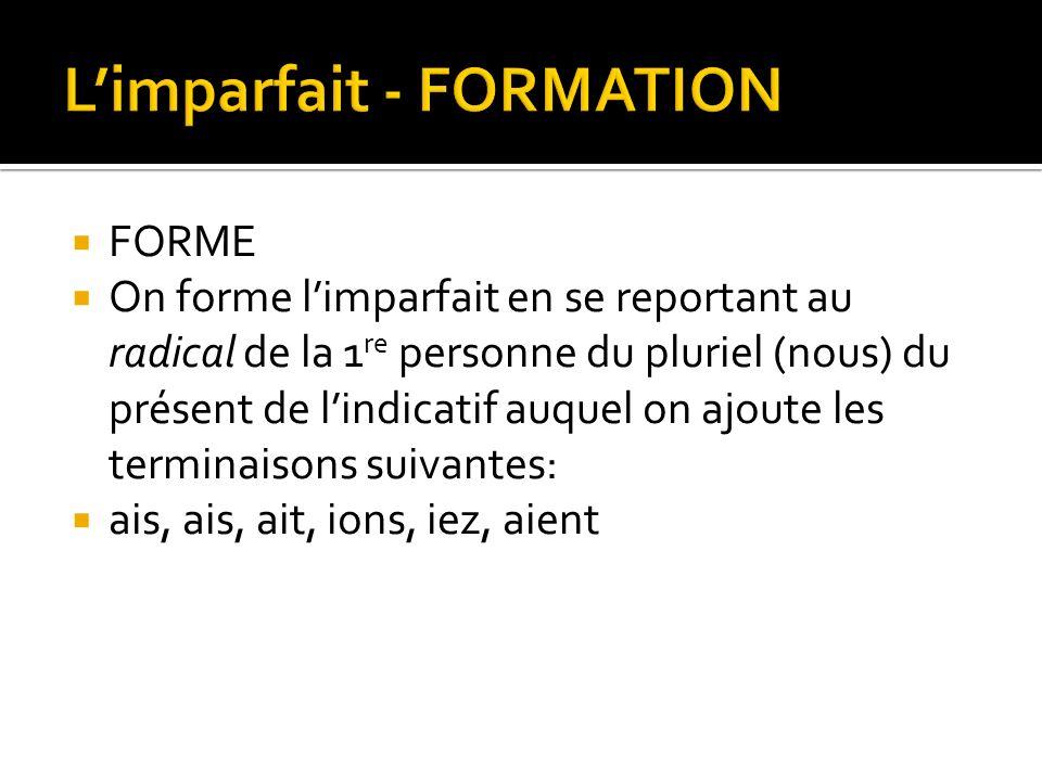 L'imparfait - FORMATION