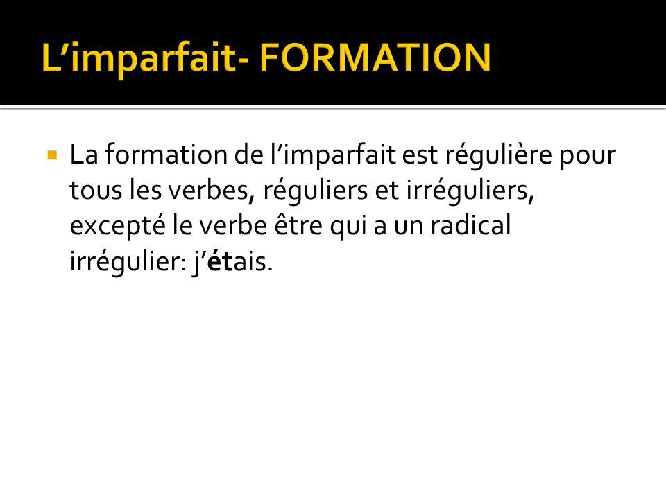 L'imparfait- FORMATION