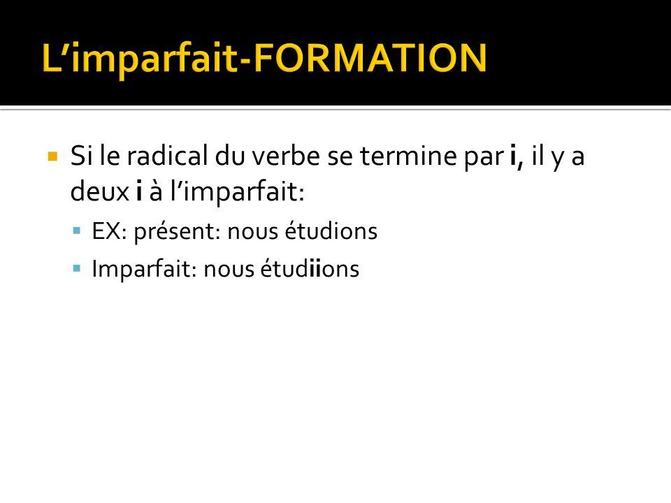 L'imparfait-FORMATION