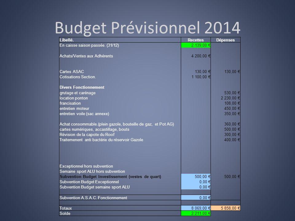 Budget Prévisionnel 2014 Libellé. Recettes Dépenses