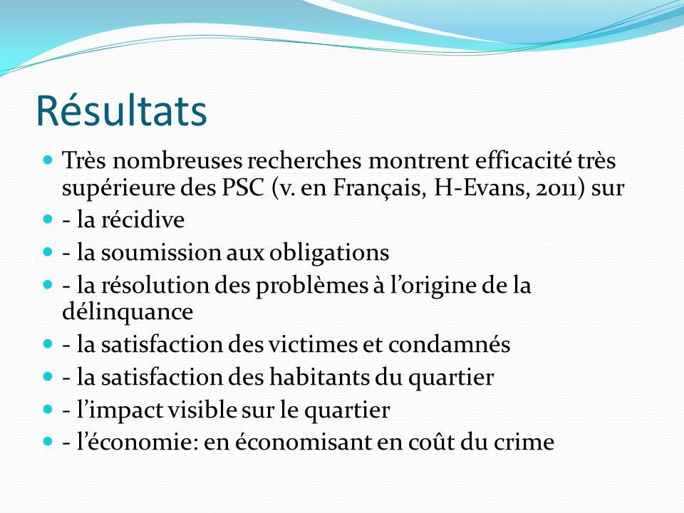 Résultats Très nombreuses recherches montrent efficacité très supérieure des PSC (v. en Français, H-Evans, 2011) sur.