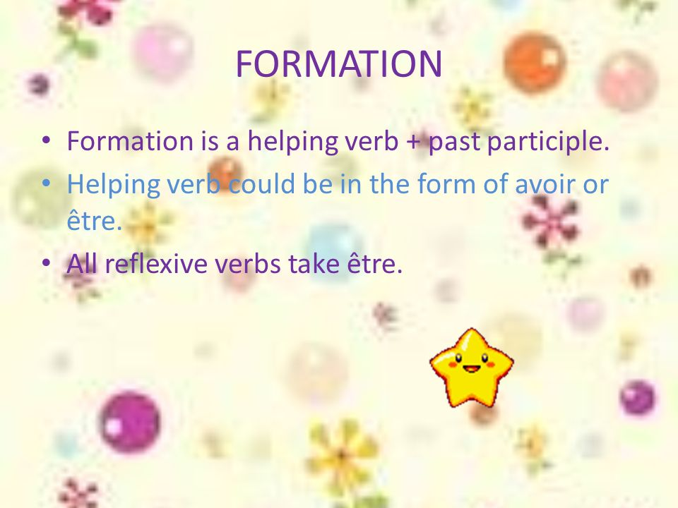 FORMATION Formation is a helping verb + past participle.