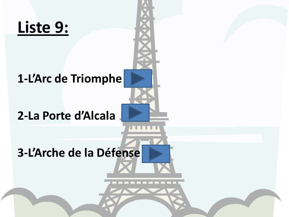 Liste 9: 1-L'Arc de Triomphe 2-La Porte d'Alcala 3-L'Arche de la Défense