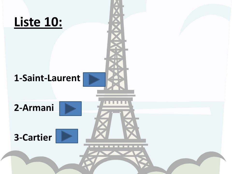 Liste 10: 1-Saint-Laurent 2-Armani 3-Cartier