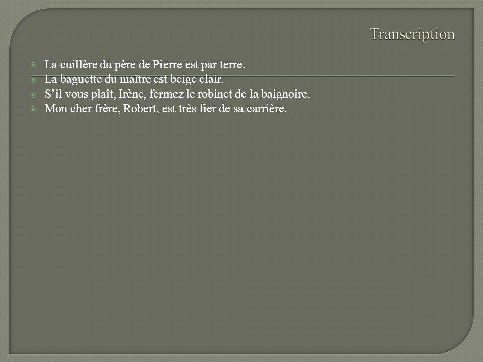 Transcription La cuillère du père de Pierre est par terre.