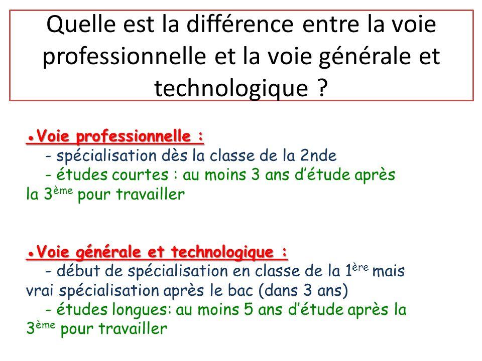 Quelle est la différence entre la voie professionnelle et la voie générale et technologique