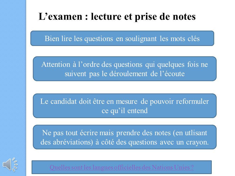 L'examen : lecture et prise de notes