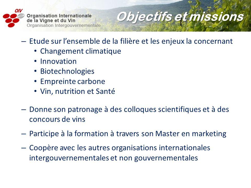 Objectifs et missions Etude sur l'ensemble de la filière et les enjeux la concernant. Changement climatique.