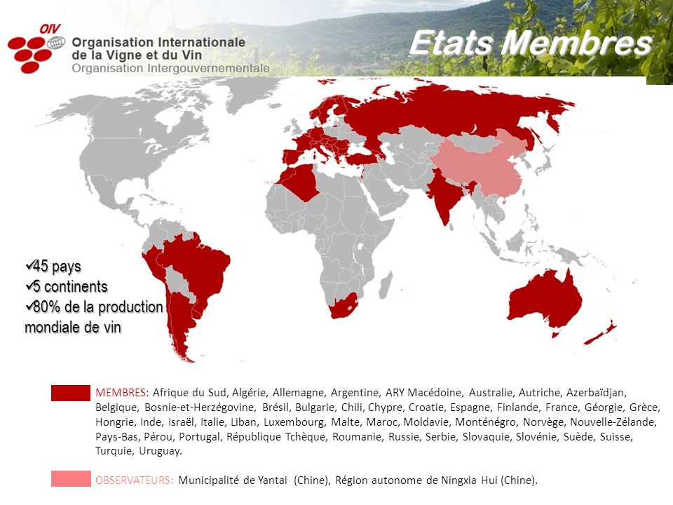 Etats Membres 45 pays 5 continents